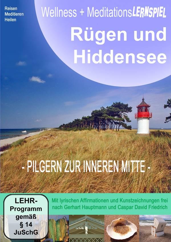 CD-Cover: Wellness- und Meditationslernspiel Rügen und Hiddensee, Pilgern zur inneren Mitte, Gerhart Hauptmann, Caspar David Friedrich