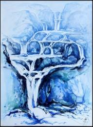 blauer Katarakt Wasserfall im Gebirge Aquarell in Blau und Schwarz