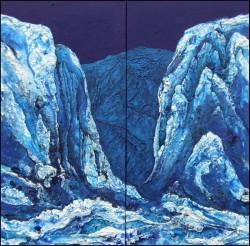 blaues Gebirgstal verschneite Berge Strukturmalerei Acrylmischtechnik