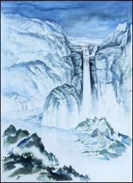 Großer Wasserfall im Gebirge Aquarell in Blau chinesische Landschaftsimpression