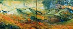 Herbstgewitter Gebirgslandschaft Strukturspachtel Acrylmalerei