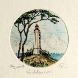 Hiddensee Leuchtturm Dornbusch handkoloriert