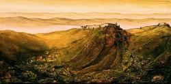 Toskanalandschaft im Abendlicht südliche imaginäre Gebirgslandschaft mit Gehöft Acrylstrukturmalerei mit Tuschelasuren