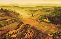 Toskanalandschaft im Abendlicht Acrylstrukturen und Tuschelasuren imaginäre südliche Landschaft