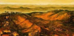 Toskanalandschaft im Abendlicht südliche imaginäre Landschaft Abendstimmung Acrylmischtechnik Spachtelstrukturen und Tuschelasuren