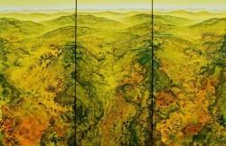 Gebirgslandschaft in gelbgrün Triptichon imaginäre Landschaftsstrukturen Acrylspachtelmasse und feine Lasuren