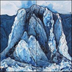 vereister Berg blaue Gebirgslandschaft Acrylmalerei Spachtelstrukturen