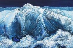 verschneites Gebirge Winterlandschaft blaue Berge im Schnee Acrylstrukturmalerei auf Leinwand Mischtechnik in Öl und Acryl