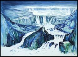 Wasserfälle im Gebirge Aquarell in Blau und Schwarz