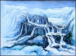 Wasserkaskaden Aquarell in Blau Wasserfälle im Gebirge
