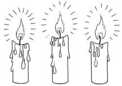 Drei Kerzen zum Ausblasen für die Zwerchfellmassage (Zeichnung) - Entspannungsübung Innere Mitte