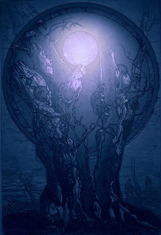 Baum im silbernen Mondlicht - Original-Radierung von dem Künstler Kurt Ries - indigoblaue Farbe mit Silberlicht