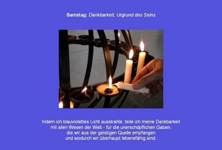Friedensmeditation Samstag mit der Heilfarbe Indigoblau und Affirmation