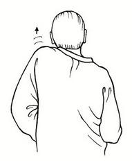 Entspannung im Büro: Schulter-Nacken-Gymnastik - Zeichnung Mann von hinten