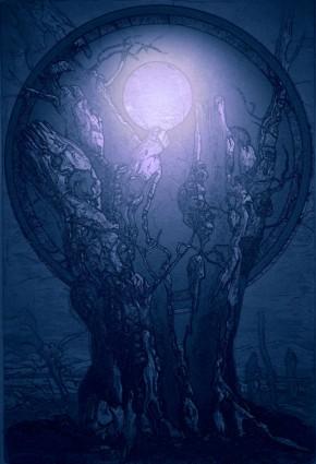 alter Baum mit Vollmand Fadierung von Kurt Ries