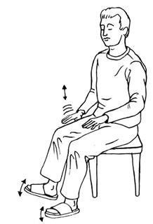 Fußreflexzonenmassage durch Fußtrommeln - Zeichnung eines Mannes