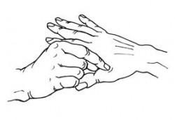 Lymphzonen-Handmassage: Eine Hand massiert die andere Hand im Lymphzonenbereich zwischen Daumen und Zeigefinger.