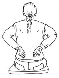 Entspannung im Büro: Firgur mit den Händen auf den Nieren - Wärme spüren.
