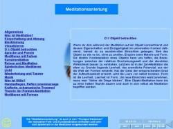 Interaktives Meditations- und Lernspiel: Seite der Meditationsanleitung mit Links und Buttons