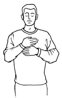 Oberkörper einer Männer-Figur (Zeichnung): Handauflegen - Entspannung des Herz-Chakras