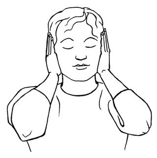 Ohren - Reiki: Frauenfigur - Handflächen liegen auf den Ohren