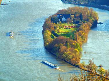 Blick zur Insel Nonnenwerth auf dem Rhein bei Remagen