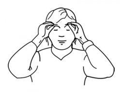Massage der Augenbrauen mit den Fingern