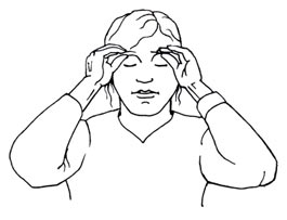 Entspannung im Büro: Augenbrauen-Massage: Zeichnung mit Frauenkopf und Händen