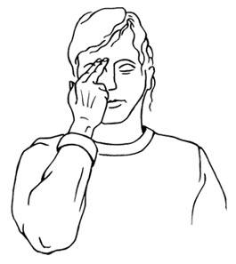 Entspannung im Büro: Streicheln der Augenbrauen - Zeichnung mit Frauenkopf, Arm und Hand, die die Augenbrauen streichelt