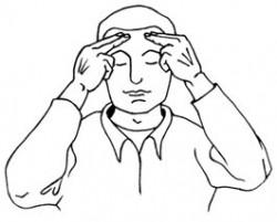 Entspannung im Büro: Stirn Massage mit den Fingern - Männerfigur Zeichnung