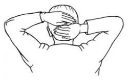 Reiki-Entspannung im Büro: Zeichnung mit Männerkopf und Händen, die auf dem Hinterkopf liegen.