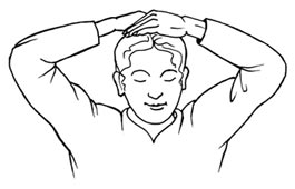 Reiki-Entspannung im Büro: Handauflegen Kronen-Chakra - Zeichnung mit Männerkopf und Armen / Händen, die auf dem Kopf liegen.