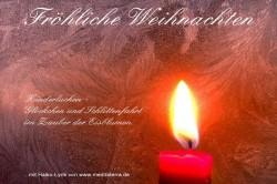 Weihnachtskarte mit Eisblumen, Kerzenlicht sowie Gedicht - Kinderlachen, Schlittenfahrt