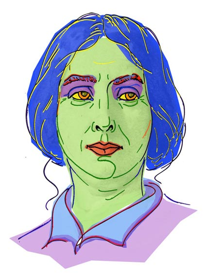 George Sand: Bleistiftzeichnung von Kurt Ries - handgezeichnet und digital koloriert