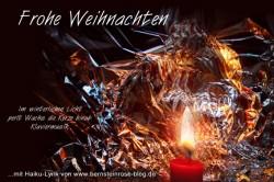 Gratis Weihnachtsgruß mit Gedicht, Kerzenwachs, winterliches Licht, Frohe Weihnachten