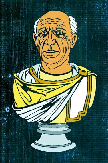 """Holzschnitt von Kurt Ries: """"Hommage á Picasso"""" - Portrait von Pablo Picasso von Kurt Ries"""