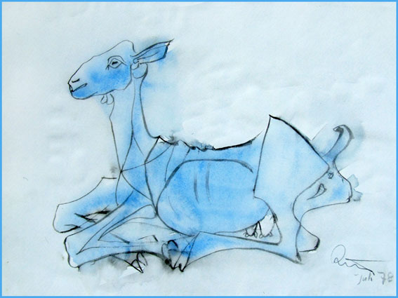 Ziege: Kopie einer Zeichnung von Picasso im Museum in Antibes