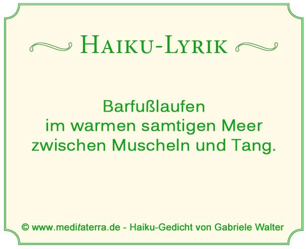Haiku-Gedicht, Barfußlaufen, Muscheln, Tang