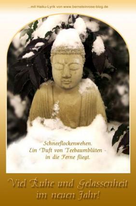 Neujahrsgrusskarte mit Buddha im Schnee und Haiku