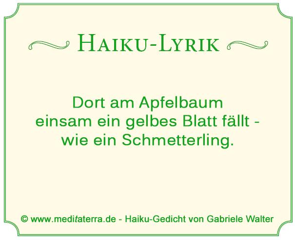 Haiku-Lyrik: Am Apfelbaum ein gelbes Blatt - Schmetterling