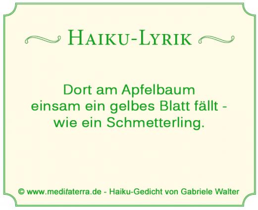 Haiku-Lyrik mit Schmetterling Apfelbaum und Blatt