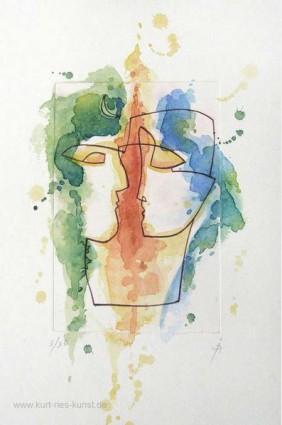 Radierung Liebespaar von Kurt Ries