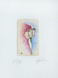 Pärchen - Radierung zum Thema Liebe - violett und blau aquarelliert