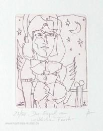 Ätzradierung mit Engel und Mond, lineares Kunstbild, original, limitiert