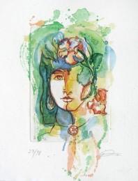 Kolorierte Ätzradierung mit Frauenkopf und Blüte im Haar - grünlich gold aquarelliert