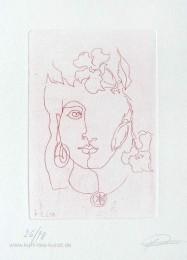 Ätzradierung zum Thema Frühling und Liebe mit Frauenkopf und Blüte im Haar, linear, preiswert