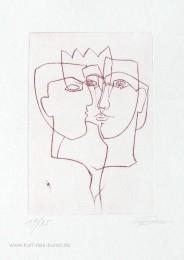 Kaltnadelradierung mit drei Gesichtern zum Thema Liebe, linear, Original-Radierung, preiswert, Maske