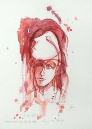 Kolorierte Ätzradierung zum Thema Liebe mit zwei Gesichtern und Halbmond - verträumt - rot aquarelliert