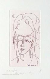 Ätzradierung - Originalradierung von Kurt Ries, zwei lineare Gesichter mit Halbmond zum Thema Liebe, limitiert