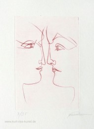 Originale Radierung bzw. Kaltnadelradierung mit zwei Frauenköpfen, linear, limitiert, preiswert
